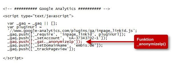 Google Analytics mit anonymisierter IP-Adresse