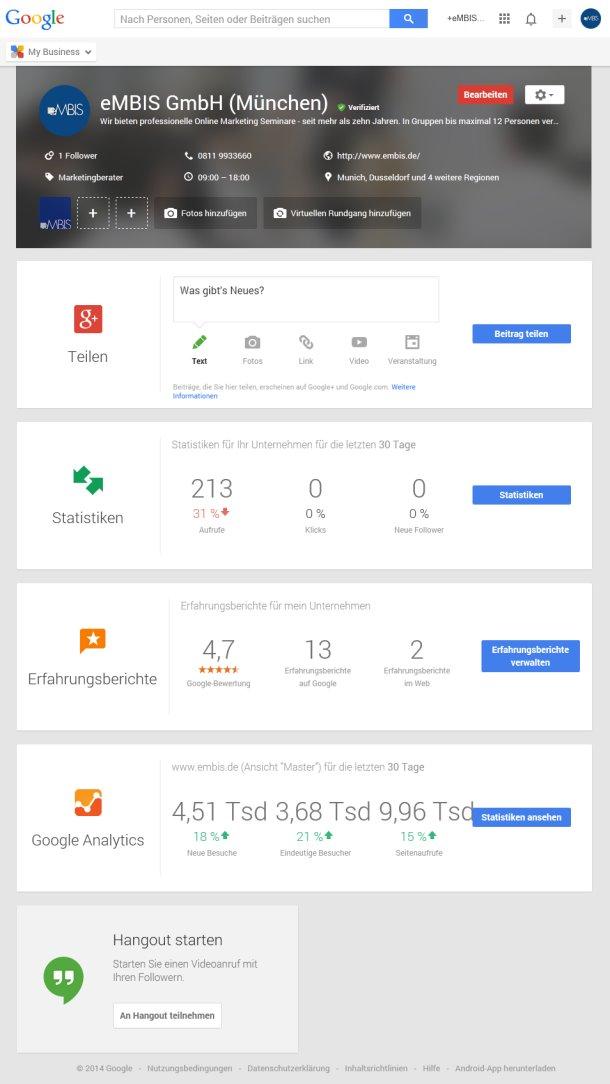 Oberfläche Google My Business