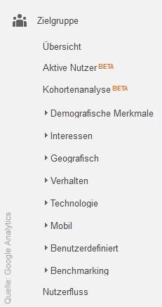 Zielgruppen-Navigation bei Google Analytics