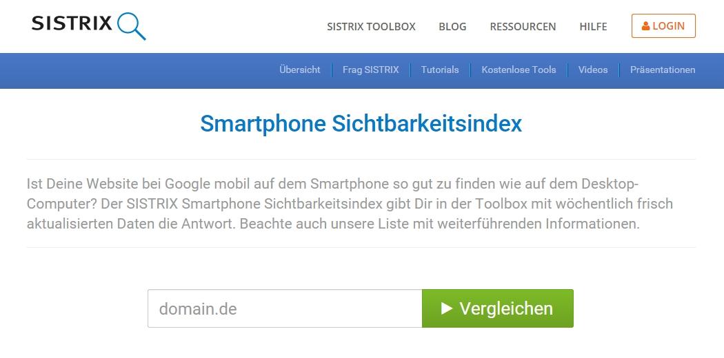 Smartphone Sichtbarkeitsindex von Sistrix