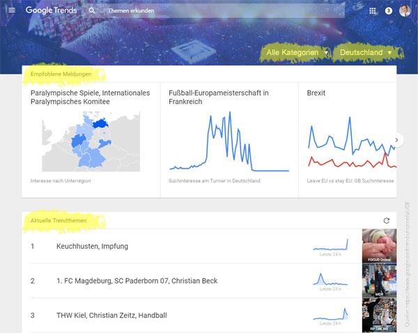 Google Trends - Start